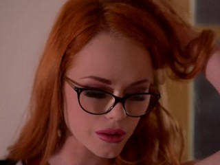 Horny Redhead Ella Hughes Masturbates Her Hairy Pussy With Glass Dildo