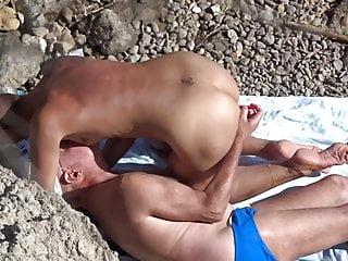 SPY VOYEUR at beach - Anal games with a pen