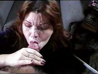 Beautiful wife takes huge facial cumshot