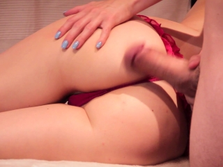 Hot Babe Nikki makes her man cum a nice load on her ass and then massage it