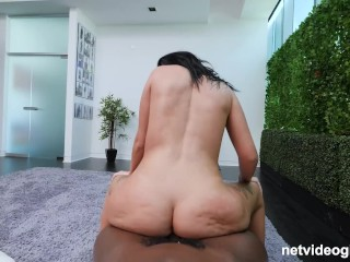 Thick White PAWG Gets Creampied and Facialed Fucking 2 Black Guys