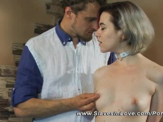 Lovely blonde is punished by her Master.