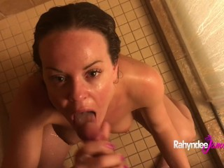 Rahyndee James Sucking Cock and Fucking in Shower POV