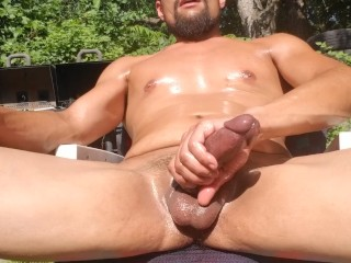 Oiled up in the nice hot sun