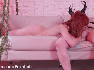Gagging on cock and rimming her dom's ass as he spanks her and drinks tea