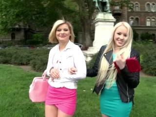 Russian XXX Blondes Lola Taylor & Angel Black deliver POV blowjob supreme