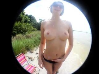Brunette babe banged outdoor pov