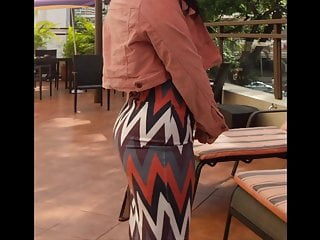 Sexy candid ass in tight skirt walking in high heels
