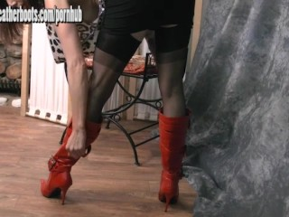 Sexy Milf teasing in sheer nylon stockings and slutty red leather boots
