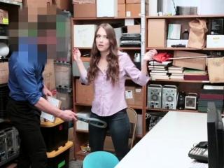 Skinny shoplifter sucks LP officers cock