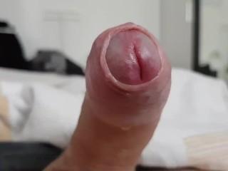 25 Min pulsating cock closeup - loads of handfree precum dripping!