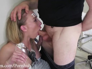 Hot blond turned into human file cabinet, face fucked, and suffocated