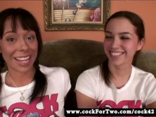 Aarielle Alexis vs. Courtney James Sucking Competition - Cock For Two