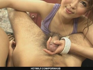 Two dirty studs fuck horny Sayaka Tsuzi´s holes