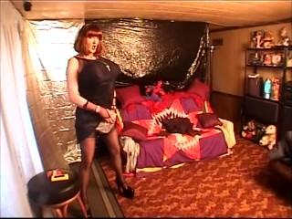 Miss Gwen big busted bimbo transvestite shemale smoking masterbating slut