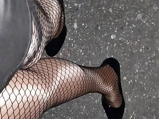 Fishnet Pantyhose Walk