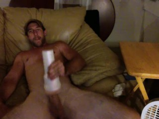Sexy guy with a big ass dick fucks flashlight hard !!!!