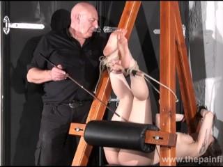 Feet whipping and amateur slave bondage of punished bdsm submissive Beau