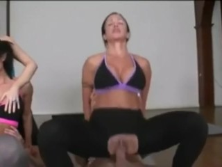 Yoga Orgy and Franseska made me pre cum all on her pussy. Sexiest milfs.