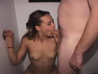 Latina Amateur Sucking Dick Through Glory Hole From Knees