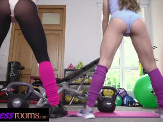 Fitness Rooms Cock hungry Italian and Czech girls threesome with muscle man