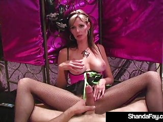 Hosed & Barefoot Cougar Shanda Fay Foot Fucks A Hard Cock!