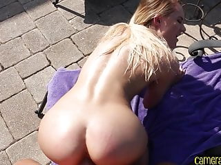 POV doggystyled beauty blows cock and balls