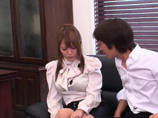 Busty Japanese secretary gives a sloppy blowjob