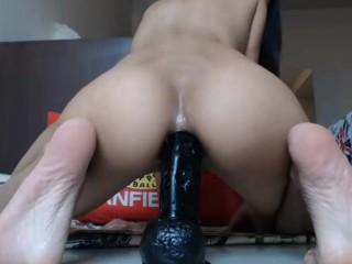 Sexy CamGirl Rides Big Anal Dildo