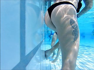 super sexy ass tatooed girl pool